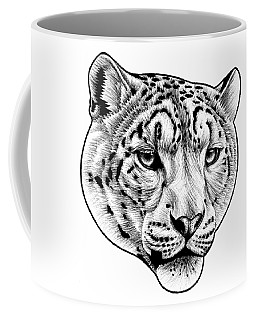Snow Leopard - Ink Illustration Coffee Mug