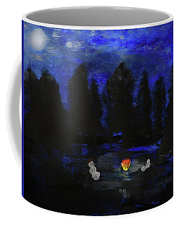 Snowmen Enjoy The Campfire  Coffee Mug
