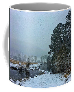 Coffee Mug featuring the photograph Snowstorm At The Lake by Dan Miller