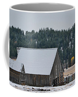 Snowy Barn Yellow Tree Coffee Mug