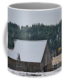 Snowy Barn Yellow Tree Coffee Mug