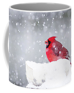 Coffee Mug featuring the photograph Snowy Cardinal by Lori Coleman