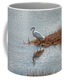 Snowy Egret Hunting A Salt Marsh Coffee Mug