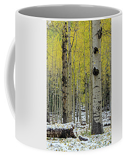Coffee Mug featuring the photograph Snowy Gold Aspen by Gaelyn Olmsted