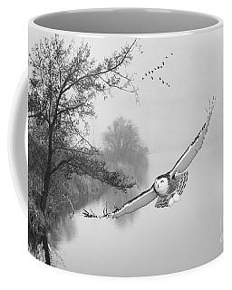 Snowy Owl Morning Bw Coffee Mug