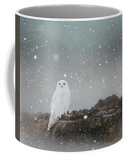Snowy Owl On A Ledge Coffee Mug