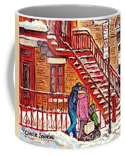 Snowy Staircase Montreal Winter Scene Painting Red Steps Strollers C Spandau Plateau To Verdun Art Coffee Mug