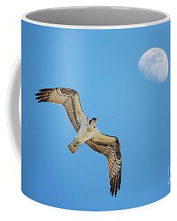 Soaring Osprey And Gibbous Moon Coffee Mug
