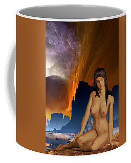 Space Fantasy I-elnia Original Nude Goddess Artwork Multimedia Painting. Coffee Mug