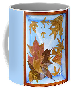 Coffee Mug featuring the mixed media Splattered Leaves by Elly Potamianos