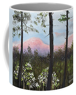 Coffee Mug featuring the painting Springtime At Pink Knob In Ellijay by Jan Dappen