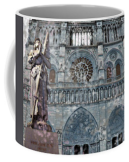 Coffee Mug featuring the mixed media St Joan Of Arc Watch Over Notre Dame by Joan Stratton