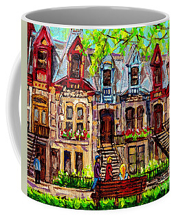 St Louis Square Park City Scene Painting Beautiful Rowhouses Blonde Girl On The Bench C Spandau Art Coffee Mug
