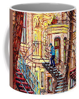 Staircase Street Scene Montreal Winding Staircases C Spandau The Mailman Plateau To Verdun Steps Art Coffee Mug