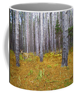 Stand Of Pines And Whitetailed Buck. Coffee Mug