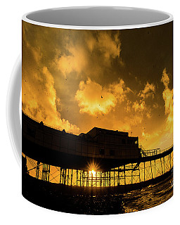 Starlings Ataberystwyth Pier At Sunset Coffee Mug