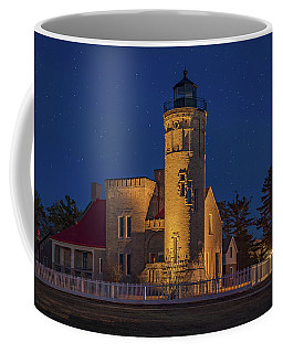 Starry Night At Old Mackinac Point Lighthouse  Coffee Mug