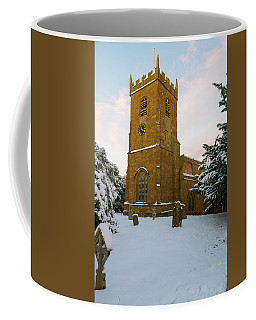 Stone Church In The Snow At Sunset Coffee Mug