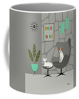 Coffee Mug featuring the digital art Stone Wall With Dog And Cat by Donna Mibus