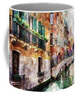 People On Bridge Over Canal In Venice, Italy - Watercolor Painting Effect Coffee Mug
