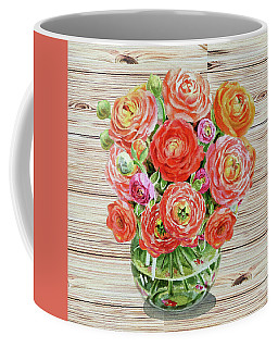 Summer Bouquet Ranunculus Flowers In The Glass Vase Coffee Mug