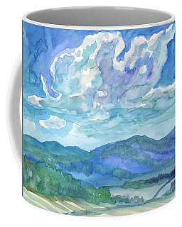 Coffee Mug featuring the painting Summer Clouds Landscape  by Dobrotsvet Art