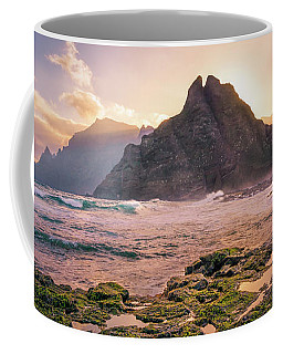 Coffee Mug featuring the photograph Sun Rising Behind Roque De Los Hermanos by Dmytro Korol