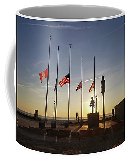 Coffee Mug featuring the photograph Sunrise At Firefighter Memorial by Robert Banach