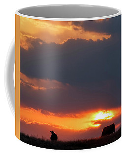 Coffee Mug featuring the photograph Sunset And Cows 01 by Rob Graham