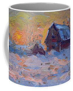 Sunset And Snow In The Farm  Coffee Mug