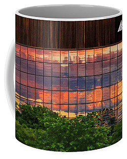 Coffee Mug featuring the photograph Sunset Reflections On A Wall Of Glass by Ola Allen