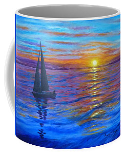 Coffee Mug featuring the painting Sunset Sail by Amelie Simmons