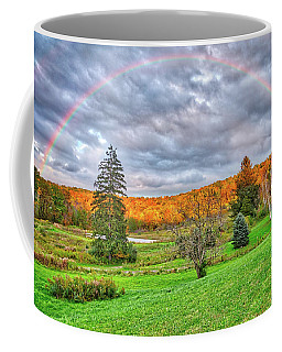 Coffee Mug featuring the photograph Sunset Storm Rainbow - Upstate New York by Lynn Bauer