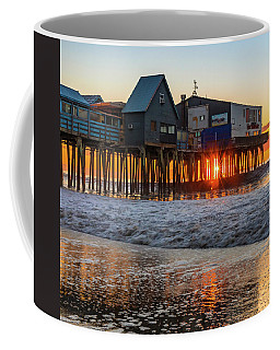 Coffee Mug featuring the photograph Sunstar At Pier Patio Old Orchard Beach by Dan Sproul