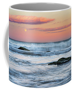 Super Moon And Sunset At Sozopol Town Beach Coffee Mug