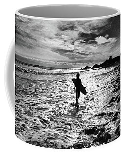 Coffee Mug featuring the photograph Surfer Silhouette by John Rodrigues