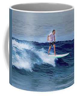 Coffee Mug featuring the painting Surfing Andy by Deborah Boyd