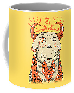 Coffee Mug featuring the drawing Surreal Cat by Sotuland Art