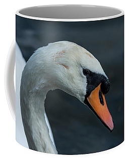Coffee Mug featuring the photograph Swan Head Close Up On Blue Background by Scott Lyons