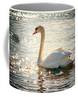 Swan On Golden Waters Coffee Mug