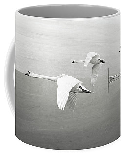 Swans At Sunrise Bw Coffee Mug