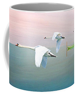Swans At Sunrise Coffee Mug