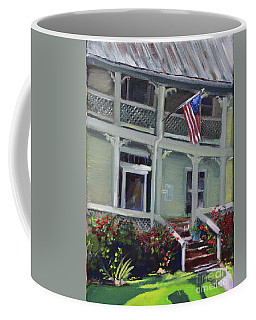 Coffee Mug featuring the painting Tabor House - Historical Home Of Ellijay by Jan Dappen