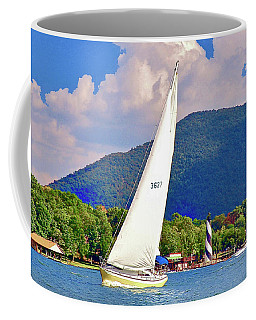 Tacking Lighthouse Sailor, Smith Mountain Lake Coffee Mug
