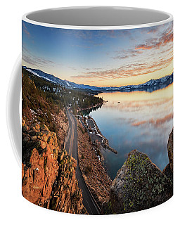 Tahoe Sunset Reflections Atop Cave Rock Coffee Mug