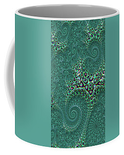 Coffee Mug featuring the digital art Teal Octopus Fractal Abstract by Shelli Fitzpatrick