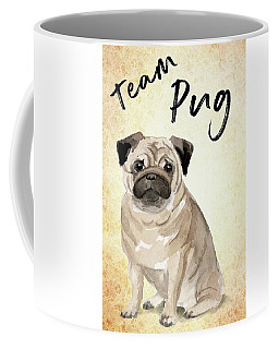 Coffee Mug featuring the painting Team Pug Cute Dog Art by Matthias Hauser