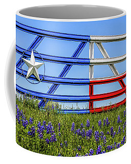 Texas Flag Painted Gate With Blue Bonnets Coffee Mug