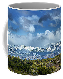 The City Of Bariloche And Landscape Of Snowy Mountains In The Argentine Patagonia Coffee Mug