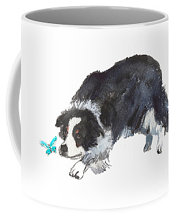 The Collie And Blue Butterfly Coffee Mug
